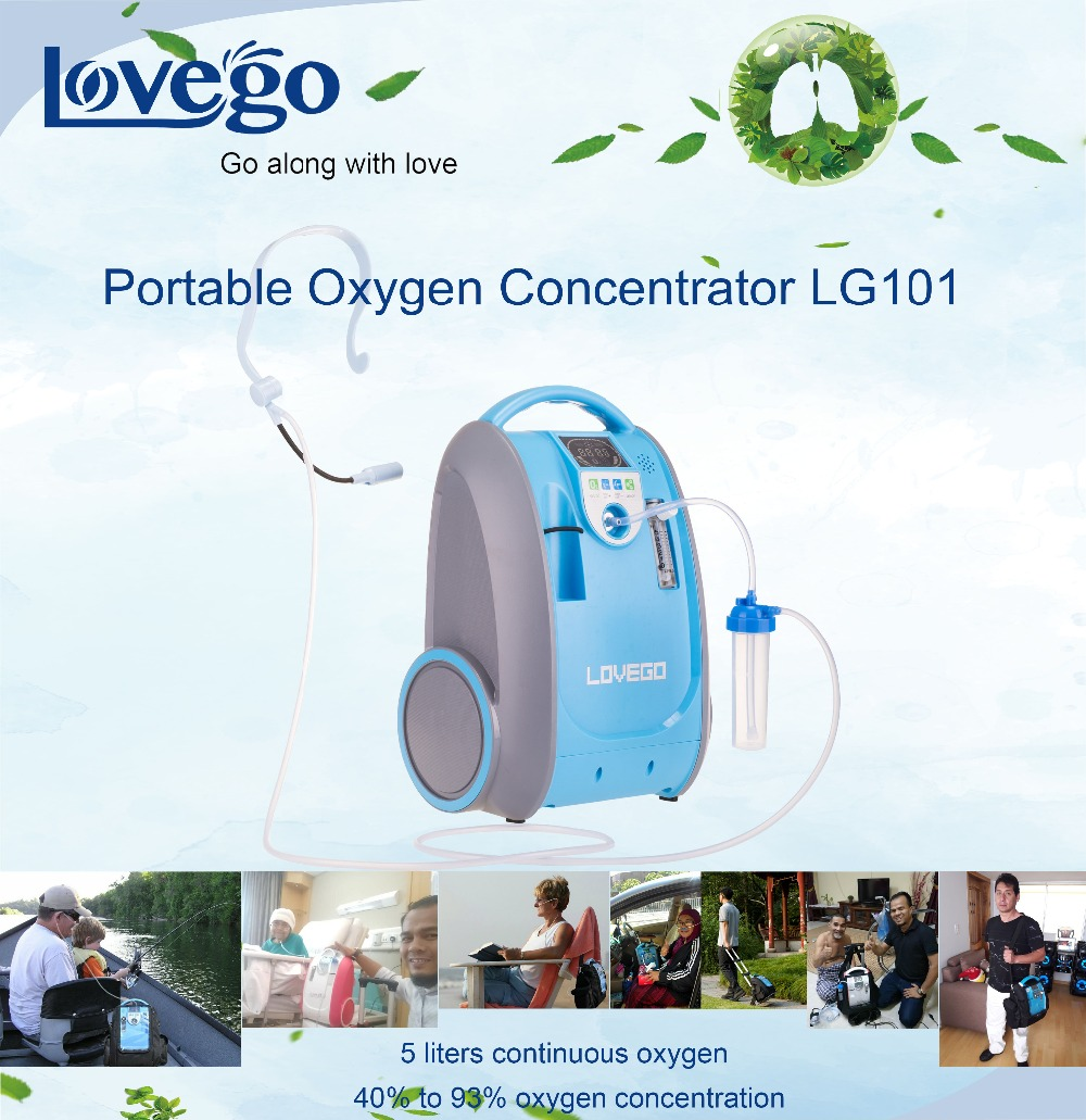Two Years Warranty 1-5LPM Lovego portable oxygen concentrator/oxygen generator/mini concentrator LG101 for home/travel/car use