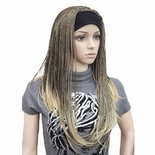 StrongBeauty Synthetic Women Long Wigs Braiding Crochet Hair With Headband Half Wig