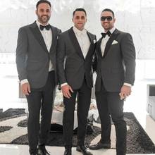 Grey Men Wedding Suits Groom Tuxedo 2 Pieces Jacket+Pants Groomsmen Suits Black Shawl Lapel Wedding Suits for Men