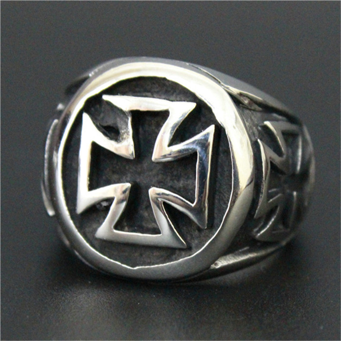 1 pc Men Boy Cool Jesus Cross Ring 316L Stainless Steel Hot Fashion Band Party Cross Ring