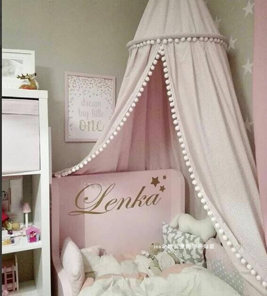 Ins Nordic children's room decorative woolen ball tassel dome Bed Tent,mosquito nets baby room decoration crib decoration