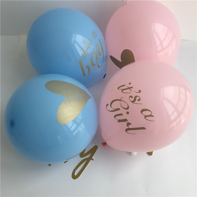 10pcs 10 inch Its A Boy Its A Girl Heart Printed Latex Balloons For Baby Shower Gender Reveal Party Decoration Air Balloons