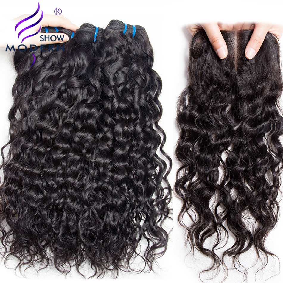 Brazilian Water Wave Bundles with Closure Human Hair Weave 3 Bundles with Closure Non Remy Hair