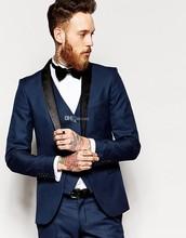 Side Vent Slim Fit Groom Tuxedos Shawl Collar Men's Suit Navy Blue Groomsman/Bridegroom Wedding Suits (Jacket+Pants+Tie+vest)