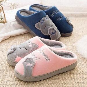Image 3 - 2 pares Inverno Sapatos Mulher Chinelos Em Casa Quente Sapatos Casal De Pele Slides Gatinho Bonito Anti skid Piso Interior Mulas pantufa mujer