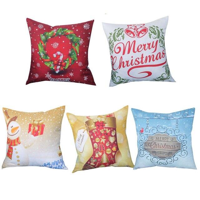 5 stili Federa di Copertura Buon Natale Stampa Federa di Cotone di Tela Divano F