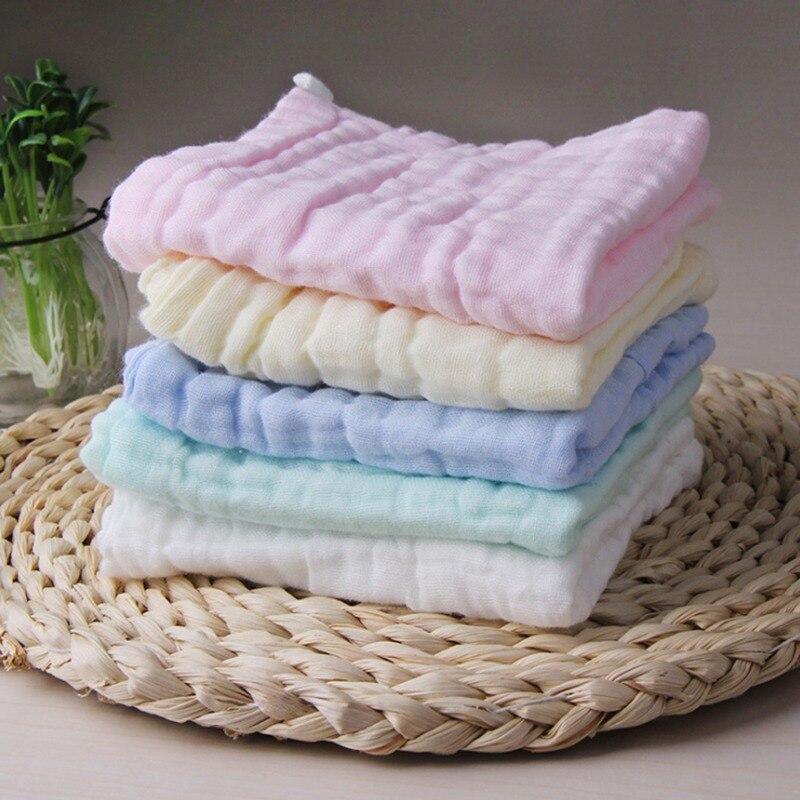 Random Newborn Baby Bib 6 Layers Combed Cotton Gauze Cute Candy Colors Hook Up Face Towel Triangle Towel Handkerchief Soft Cozy