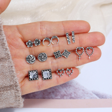 8 Pairs/Set Fashion Vintage Antique sliver Color Heart Moon Flower Crystal Stud Earrings Set For Women Wedding Jewelry 2019