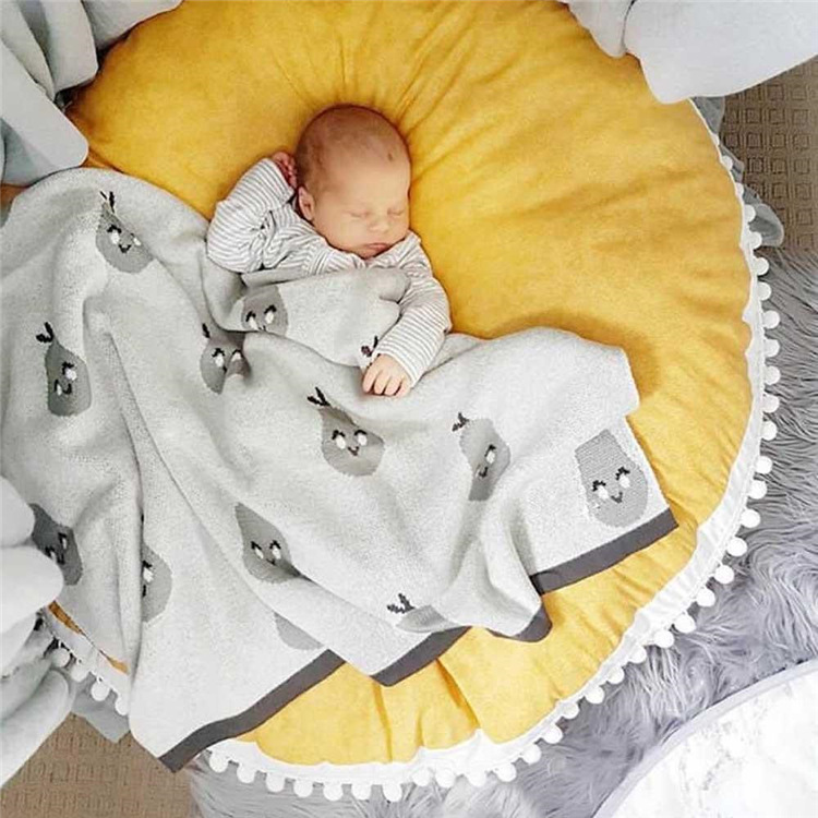 INS Nordic Baby Game Mat Toys Lace Cotton Round Floor Carpets Rug Thicken For Kids Room Decoration Soft Blanket