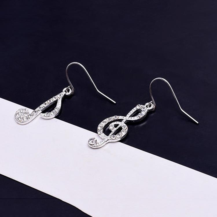 Asymmetric Personality Trendy Music Notes Ear Hook Crystal Silver Color Rhinestone Earring Women Accessory Lady Dangle Earring in Drop Earrings from Jewelry Accessories