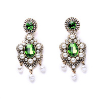 3colors Hot Selling Famous Brand Couture Inspired Sparking Crystal Glass Pendientes Statement Simulated Pearl Chandelier Earring