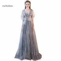 Ruthshen Сексуальная V шеи линии Вечерние платья спинки халат De Soiree Sirene Роскошные 2018 Vestidos Festa Longo длинные Платья для вечеринок