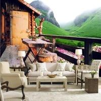 사진 벽지 현대 디자인 작은 나무 집 풍경 레스토랑 장식 배경 벽 벽지 벽화