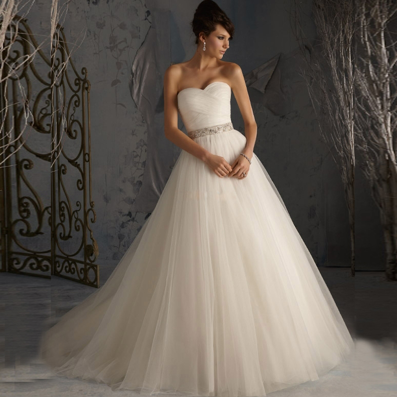Buy 2017 hot sale princess bridal gowns a for Tulle a line wedding dress
