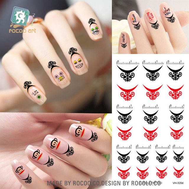 Vh320d Cuticle Tattoo Nail Art Stickers Water Transfer Temporary