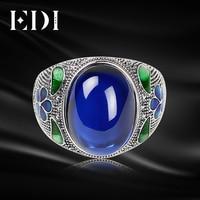 EDI Kadınlar Vintage Korindon Yeşim 925 Ayar Tay Içinde Ayarlanabilir Gümüş Yüzük Emaye Işi Takı Telkari Yuvarlak Yüzük Kadınlar Için