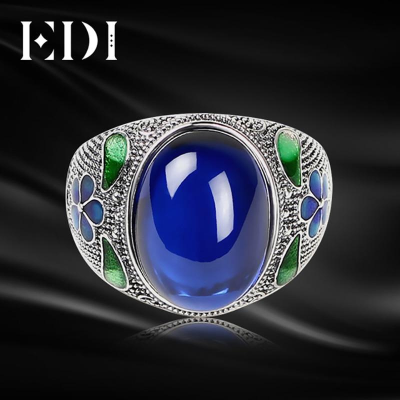 EDI Women Vintage Corundum Jade 925 Sterling Thai Adjustable Silver Rings Cloisonne In Jewelry Filigree Round Ring For Women vintage artificial jade embossed ring for women