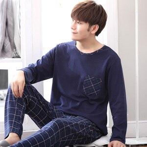 Image 3 - Yidanna long sleeve pijama cotton pajamas set for male plus size sleep clothing casual nightie sleepwear men pyjamas suit autumn
