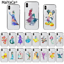 MaiYaCa Watercolor Art Snow White Cinderella Mermaid Mickey beast Phone Case for iPhone X XS MAX 6 6s 7 7plus 8 8Plus 55S SE XR(China)