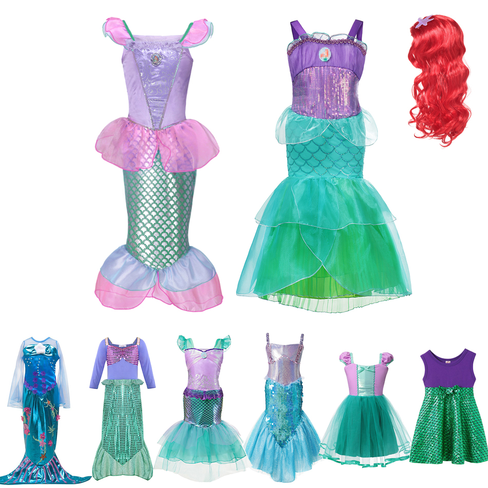 VOGUEON Girls Princess Ariel Dress Sequins Little Mermaid Costume Children Fancy Birthday Party Dress Up Outfit Clothes for Girl image