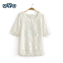 Фотография VYU Fashion Korean Children Clothing Beautiful White Dress for Baby Girl Middle Sleeved Lace Mini Dresses Baby Kids Costume