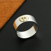 wholesale S925 sterling silver jewelry handmade silver gold eagle Korea personality retro width ring boys