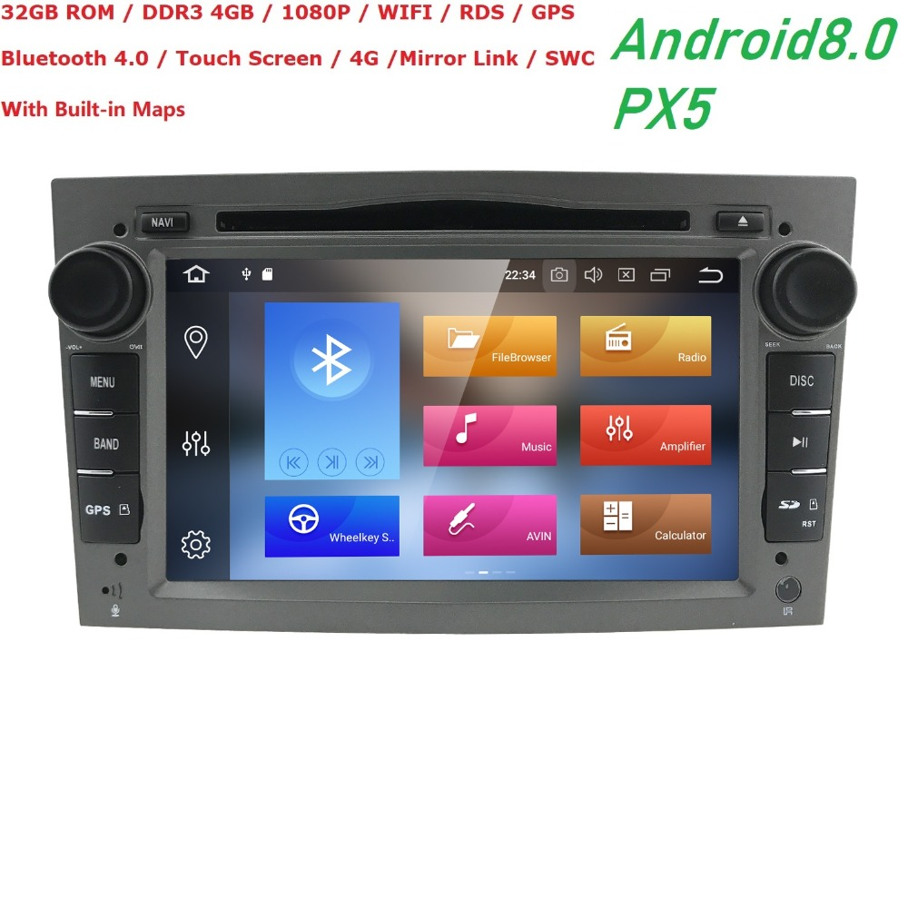 Lecteur multimédia de voiture Hizpo GPS Android 8.0 2 Din pour Vauxhall/Opel/Antara/VECTRA/ZAFIRA/Astra H G J Canbus lecteur DVD Radio BT