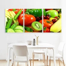 Laeacco Canvas Calligraphy Painting 3 Panel Fruit and Vegatable Posters Prints Wall Art Pictures for Living Room Home Decor