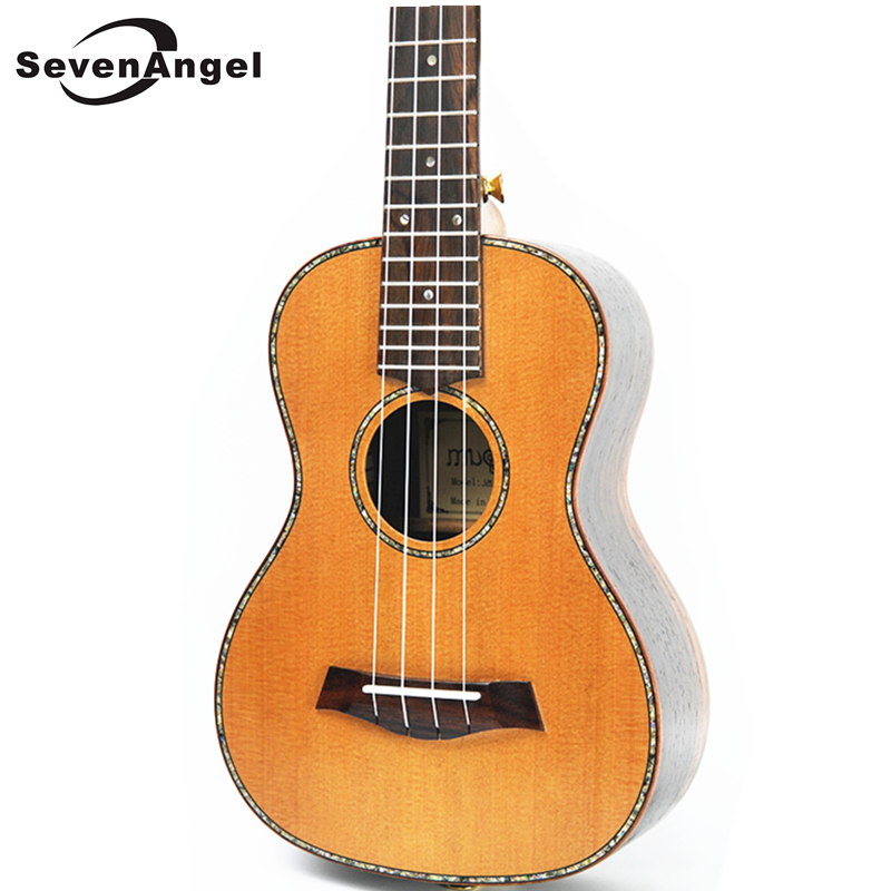 SevenAngel 23 inch Concert Ukulele Solid Top Only Red pine wood Hawaiian Guitar Electric Ukelele with Pickup EQ