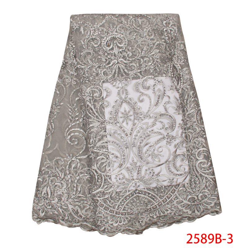 High Quality French Lace Fabric Nigerian Laces Fabrics Embroidered Tulle Net Lace With Beads Sequins For Party KS2589B-3