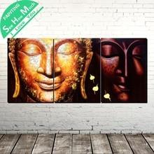 Лучший!  3 Шт. Два Будды Традиции Современного Искусства Стены Холст Картины Плакаты и Принты Обрамленная