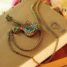Trendy Guitar Pendant and Chain