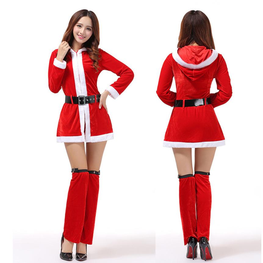 VOT7 vestitiy Ladies Santa Hooded clothing+Belt+Leg Loops Costume Women Christmas Party Fancy Two Parts Dress Cosplay Aug 19