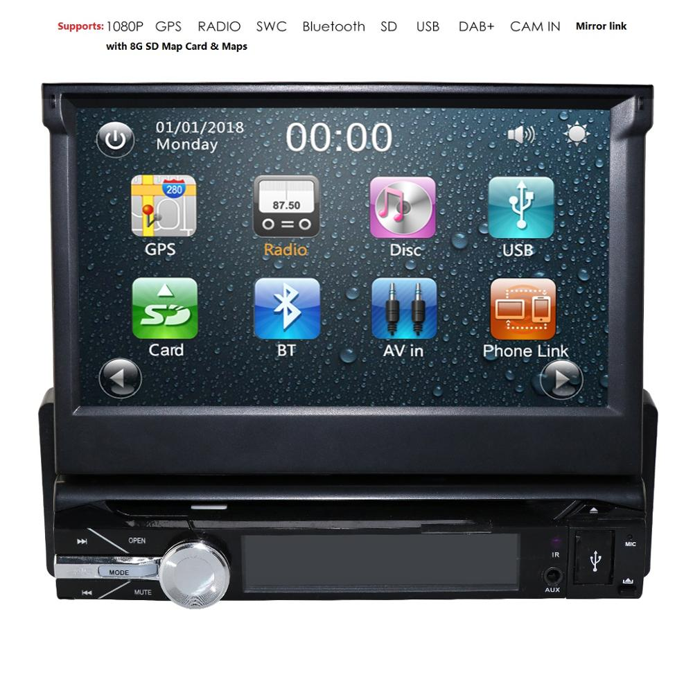 Backup Camera+GPS Single 1 Din Car Stereo Radio HD DVD Player Bluetooth 8G SD Map Card Car Multimedia Player Automotivo SWC DAB+ image