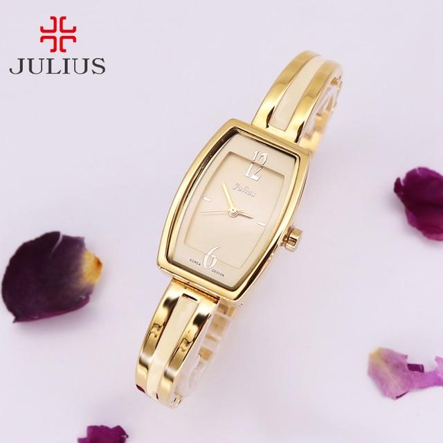 Топ защитный Для женщин часы Японии кварцевых часов Изысканные Мода платье браслет-цепочка для девочек на день рождения часы Рождественский подарок JULIUS коробка