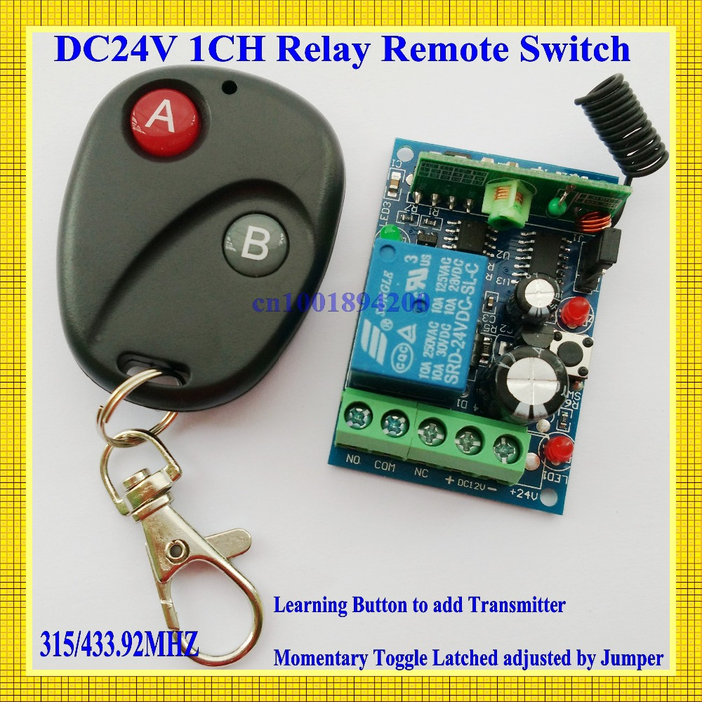 DC 24V 10A  Relay 1CH AB Button RF wireless remote control switch system1Receiver /switch&1Transmitter/remote control 315/433MHZ dc24v remote control switch system1receiver