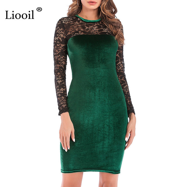 45353eeb13b Liooil Sexy Black Lace Velvet Dress New 2019 Spring Casual Women Clothing  Wine Red Green Female Midi Bodycon Party Dresses