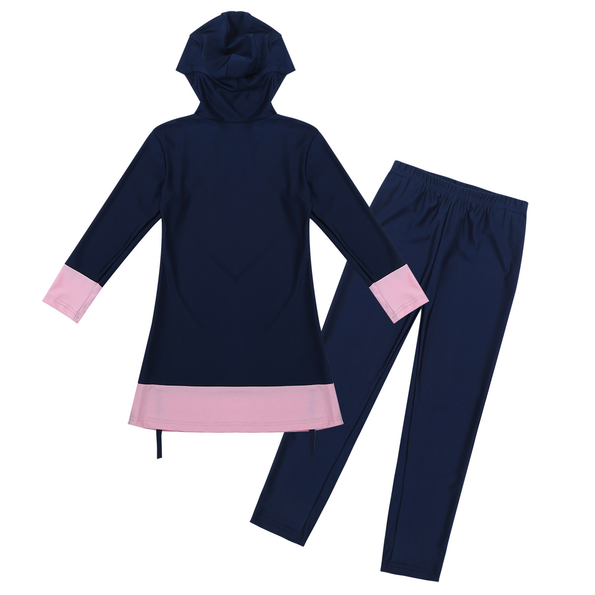 TiaoBug Kids Teens Long Sleeves Sweetheart Printed Full Cover Conservative Hijab Burkini Swimwear Girls Swimsuit with Pants Set