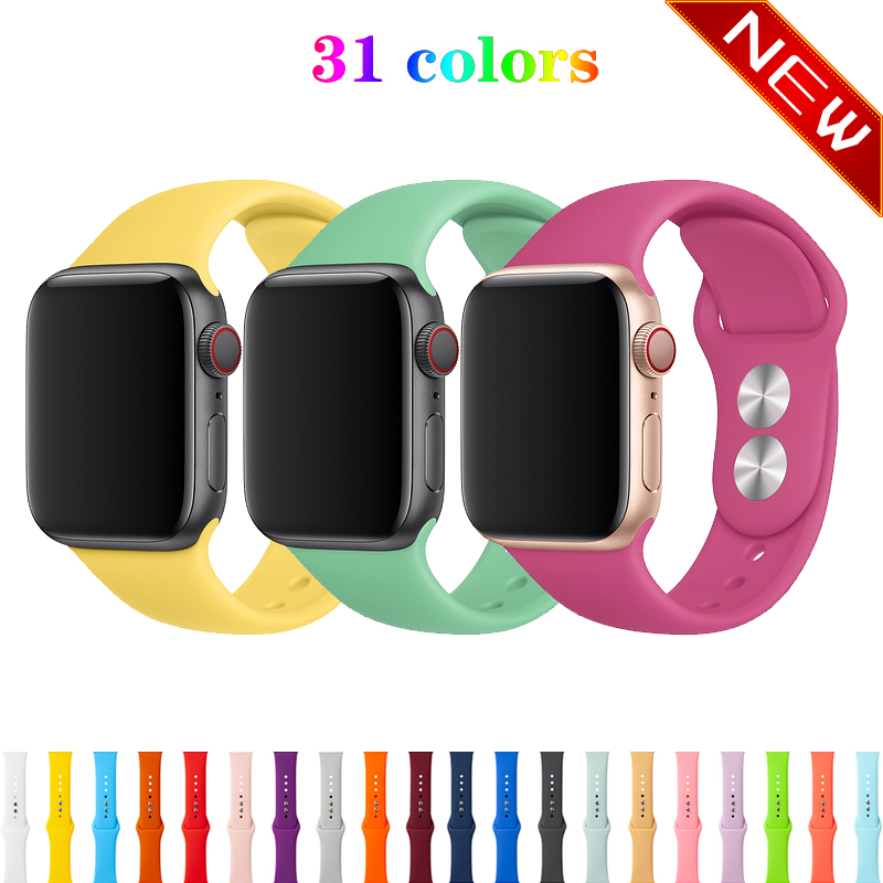 Silicone Sport Strap For Apple Watch Band 42mm 38mm Apple Watch 5/4/3/2/1 Iwatch Bracelet 44mm 40mm Rubber Watchband Belt