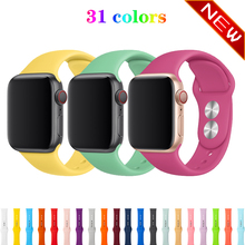 silicone sport strap for apple watch band 42mm 38mm apple watch 5/4/3/2/1 iwatch bracelet 44mm 40mm rubber watchband belt стоимость