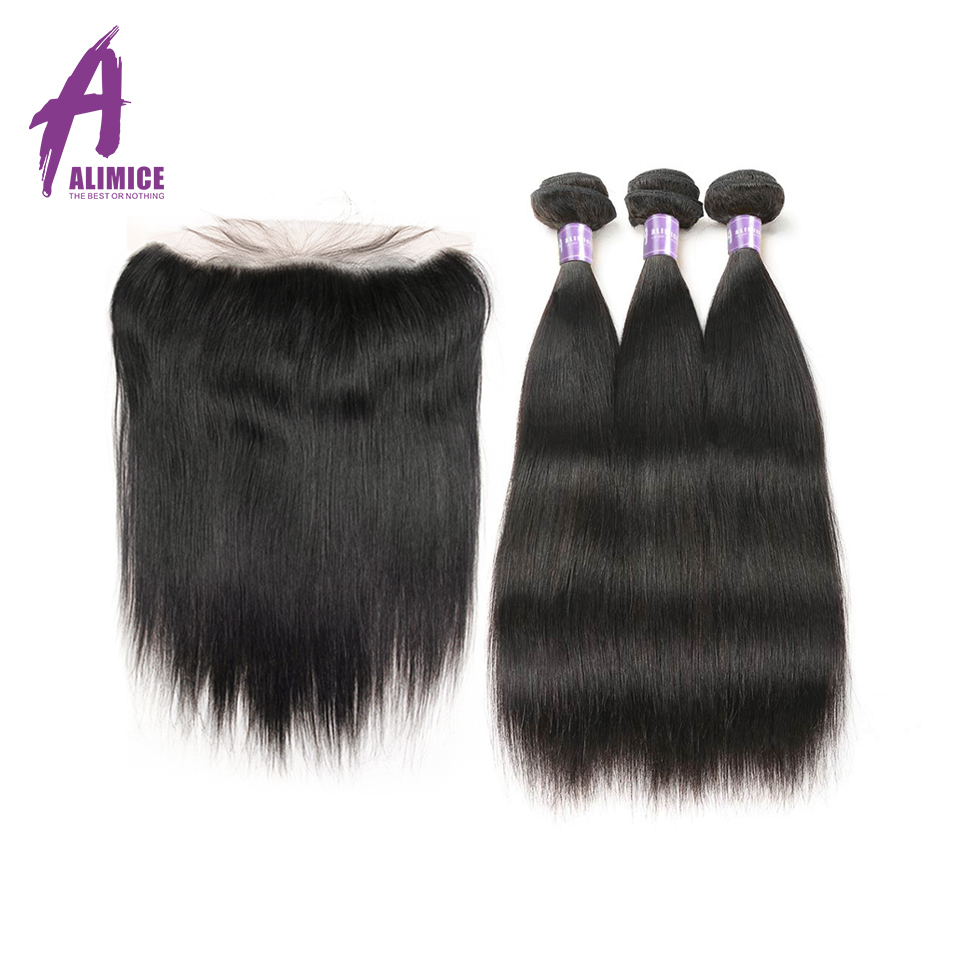 Malaysian Straight Human Hair Weaves 3 Bundles With Closure Lace Frontal Closure With Bundles Alimice Non Remy Hair Extensions