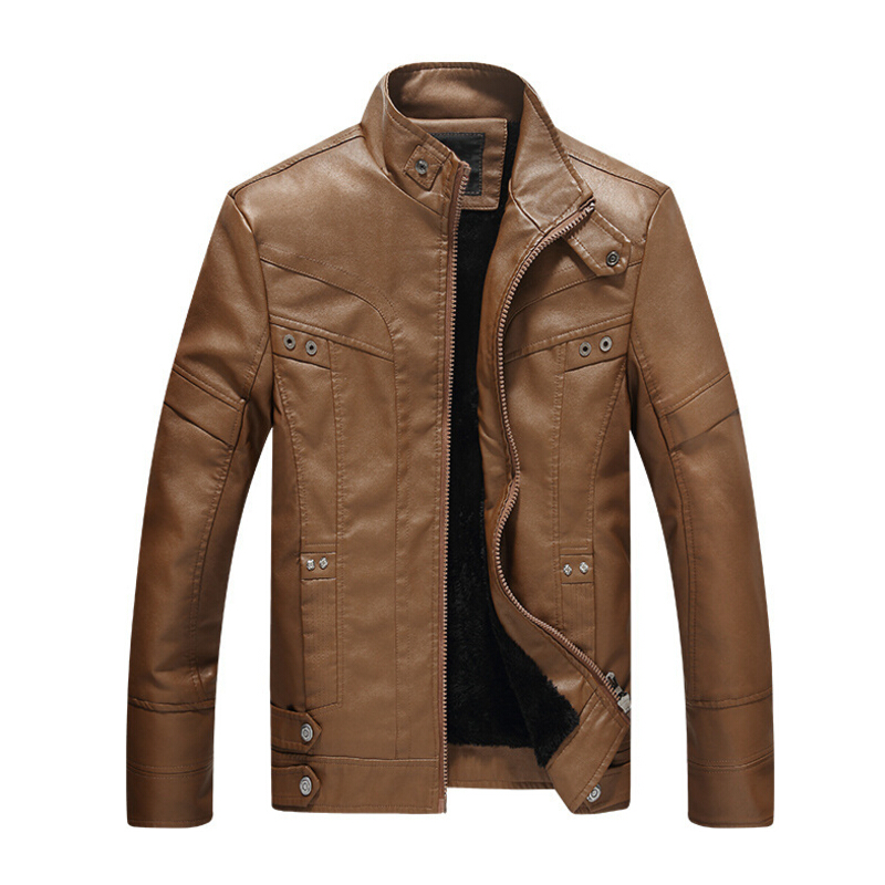 Brand New Mens motorcycle leather European style plus velvet leather jacket men jaqueta de couro masculina leather jacket coat