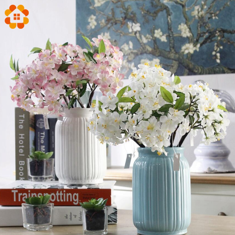 1PC Artificial Flowers DIY Flower Bouquet White&Pink Cherry Blossoms Flowers Silk Flowers Home Garden Wedding Party Decoration