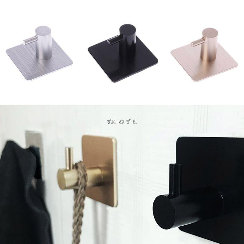 1PC Durable Door Hook Self Adhesive Home Kitchen Wall Door Hook Clothes Hange Bags Key Rack Kitchen Towel Hanger Aluminum