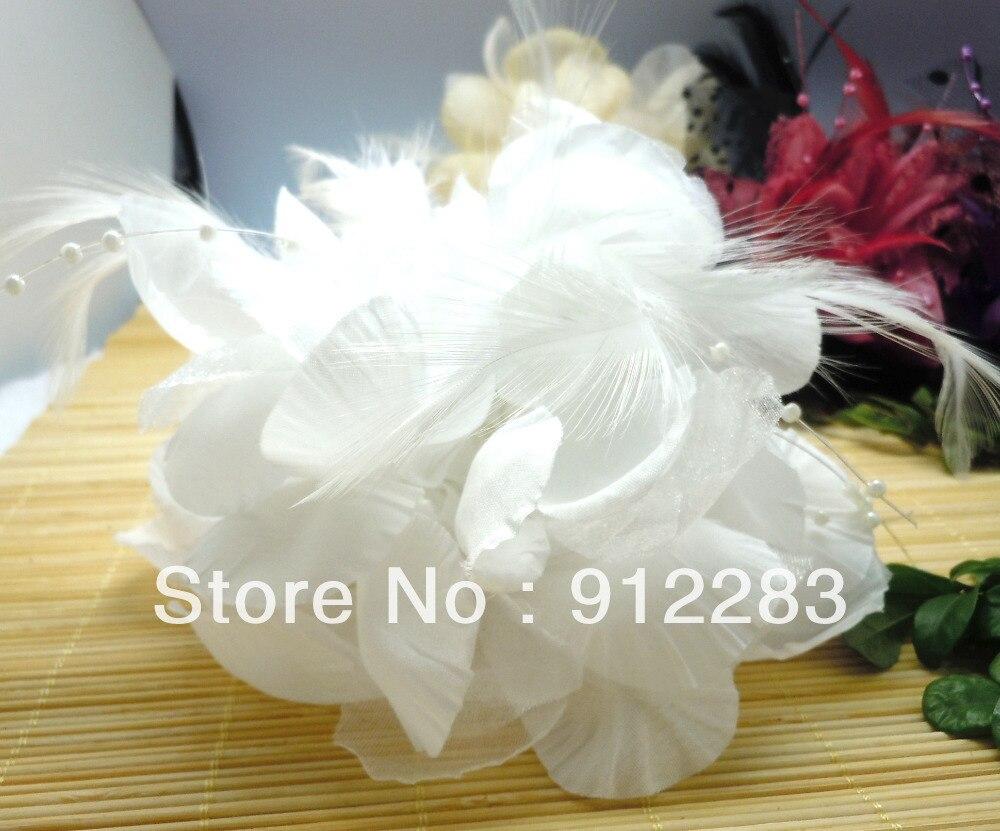 De Bijoux 20pcs White Fabric Organza Feather Flower Hair Clip