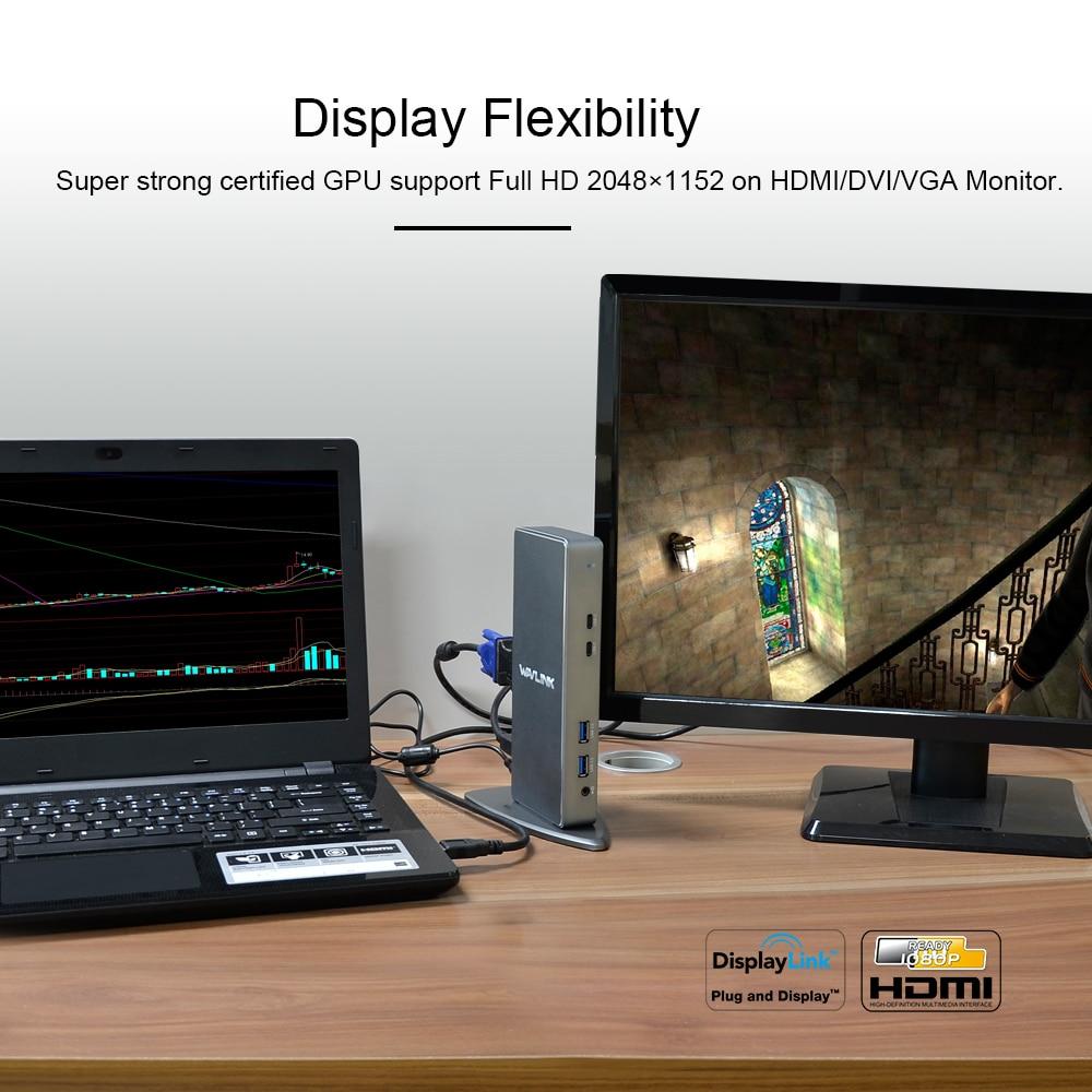 Wavlink Full HD 2048x1152 USB 3.0 Tip-C USB-C Universal Docking - Noutbuklar üçün aksesuarlar - Fotoqrafiya 5