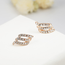1 Pairs Stud Earrings For Women Shiny Rhinestone Golden Color Crystal Earrings