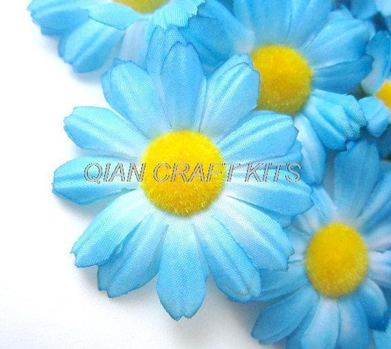 200pcs Gerbera Daisy Heads Artificial Silk Flower 1.75 inches Wholesale Lot for Bridal Wedding work, Make Hair clips, hats
