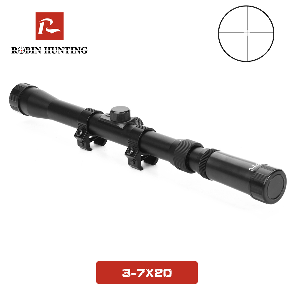 3-7x20 Hunting Riflescope Tratical Rifle Scope  Cross Reticle Scope 20mm Rail Mounts Red Dot Laser Sight For Hunting Rifle Scope