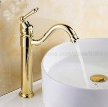 Bathroom Faucet Gold Color Brass Basin Faucet Deck Mounted Single Handle Single Hole Hot And Cold Water Tap znf214 modern black basin faucet solid brass single hole single holder wall mounted bathroom faucet hot and cold good quality al 7121h